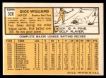 1963 Topps #328  Dick Williams  Back Thumbnail
