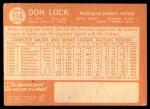1964 Topps #114  Don Lock  Back Thumbnail