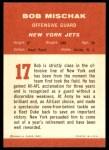 1963 Fleer #17  Bob Mischak  Back Thumbnail