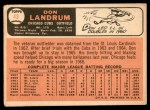 1966 Topps #43 PAR Don Landrum  Back Thumbnail