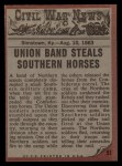 1962 Topps Civil War News #51   Horse Thieves Back Thumbnail