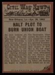 1962 Topps Civil War News #17   The Flaming Raft Back Thumbnail