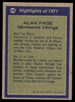 1972 Topps #279   -  Alan Page All-Pro Back Thumbnail