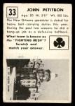 1951 Topps Magic #33  John Petitbon  Back Thumbnail