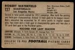 1952 Bowman Large #137  Bob Waterfield  Back Thumbnail