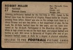 1952 Bowman Large #27  Robert Miller  Back Thumbnail