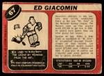 1968 O-Pee-Chee #67  Ed Giacomin  Back Thumbnail