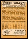 1968 Topps #77  Don Wilson  Back Thumbnail