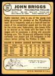 1968 Topps #284  Johnny Briggs  Back Thumbnail