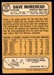 1968 Topps #212  Dave Morehead  Back Thumbnail