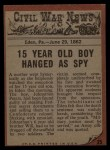 1962 Topps Civil War News #25   Hanging the Spy Back Thumbnail