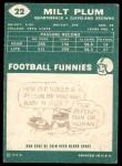 1960 Topps #22  Milt Plum  Back Thumbnail