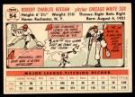 1956 Topps #54  Bob Keegan  Back Thumbnail