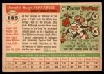 1955 Topps #185  Don Ferrarese  Back Thumbnail