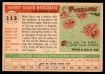 1955 Topps #113  Harry Brecheen  Back Thumbnail