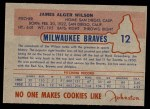 1953 Johnston Cookies #12  Jim Wilson   Back Thumbnail