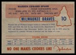 1953 Johnston Cookies #10  Warren Spahn  Back Thumbnail