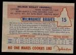 1953 Johnston Cookies #15  Del Crandall  Back Thumbnail