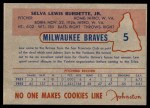1953 Johnston Cookies #5  Lew Burdette   Back Thumbnail