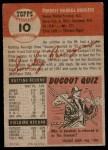 1953 Topps #10  Smoky Burgess  Back Thumbnail