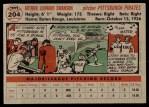 1956 Topps #204  Art Swanson  Back Thumbnail