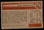 1954 Bowman #150  Cass Michaels  Back Thumbnail