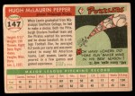 1955 Topps #147  Hugh Pepper  Back Thumbnail