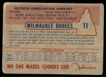1953 Johnston Cookies #11  Max Surkont   Back Thumbnail