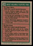 1975 Topps Mini #198   -  Roger Maris / Dick Groat 1960 MVPs Back Thumbnail