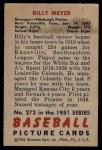 1951 Bowman #272  Billy Meyer  Back Thumbnail