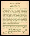 1933 Goudey Indian Gum #147   Ko-Pe-Ley  Back Thumbnail