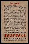 1951 Bowman #320  Hal White  Back Thumbnail