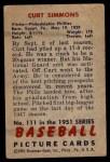 1951 Bowman #111  Curt Simmons  Back Thumbnail