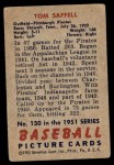 1951 Bowman #130  Tom Saffell  Back Thumbnail