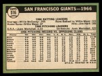 1967 Topps #516   Giants Team Back Thumbnail