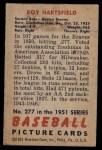 1951 Bowman #277  Roy Hartsfield  Back Thumbnail