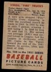 1951 Bowman #104  Virgil Trucks  Back Thumbnail