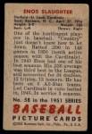 1951 Bowman #58  Enos Slaughter  Back Thumbnail