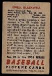 1951 Bowman #24  Ewell Blackwell  Back Thumbnail