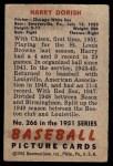 1951 Bowman #266  Harry Dorish  Back Thumbnail