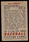 1951 Bowman #5  Dale Mitchell  Back Thumbnail