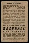 1952 Bowman #9  Vern Stephens  Back Thumbnail