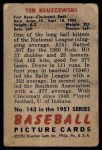 1951 Bowman #143  Ted Kluszewski  Back Thumbnail