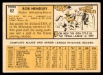 1963 Topps #62  Bob Hendley  Back Thumbnail