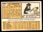 1963 Topps #517  Hal Woodeshick  Back Thumbnail