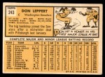 1963 Topps #243  Don Leppert  Back Thumbnail