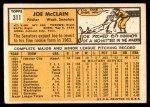 1963 Topps #311  Joe McClain  Back Thumbnail