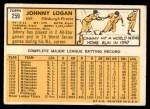 1963 Topps #259  Johnny Logan  Back Thumbnail