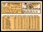 1963 Topps #457  Tex Clevenger  Back Thumbnail