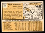 1963 Topps #211  Fred Whitfield  Back Thumbnail